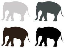 Elefantschattenbild - großes Säugetier der wild lebenden Tiere stock abbildung