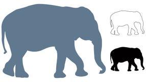 Elefantschattenbild - großes Säugetier der wild lebenden Tiere in Afrika und in Asien lizenzfreie abbildung