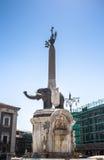 Elefantspringbrunn i Catania, Sicilien Arkivfoto