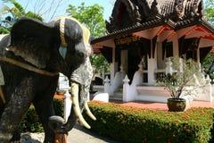 Elefantstandbeeld met oosterse architectuur Stock Foto