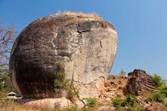 Elefantstaty på Mingun, Myanmar Arkivbilder