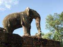 Elefantstaty - Siem Reap Arkivbild
