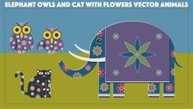 Elefantugglor och Cat Vector Animals vektor illustrationer
