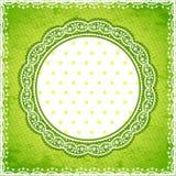 Elegan zieleni koronki rama z polki kropki tłem Obrazy Royalty Free