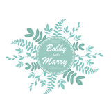 Eleganccy błękitni liście poślubia zaproszenie karcianego szablon Wektorowy illu Zdjęcie Stock