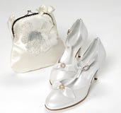 Eleganccy biali bridal akcesoria Zdjęcie Royalty Free