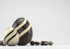 Eleganccy czekoladowi Wielkanocni jajka zdjęcie stock