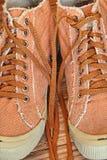 Eleganccy Gym buty, Shoelaces brać zbliżenia i Obraz Stock