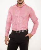 Eleganccy mężczyzna koszulowi z czarnymi spodniami Fotografia Stock