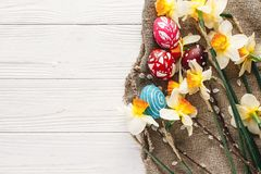 Eleganccy malujący Easter jajka na nieociosanym drewnianym tle z spr Obraz Stock