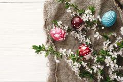 Eleganccy malujący Easter jajka na nieociosanym drewnianym tle z spr Obraz Royalty Free