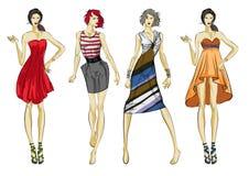 Eleganccy moda modele Ładne młode dziewczyny mod dziewczyny ilustracja wektor