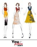 Eleganccy moda modele Modny dziewczyny nakreślenie ilustracja wektor