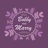 Eleganccy purpurowi liście poślubia zaproszenie karcianego szablon Wektor il Obrazy Stock