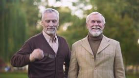 Eleganccy starzy człowiecy patrzeje kamerę, ono uśmiecha się, szczęśliwą emerytura, sukces i bogactwo, zbiory wideo