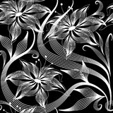 Elegance abstract flowers vector seamless pattern. Black and white floral ornamental background. Hand drawn beautiful flowers, striped leaves, swirls. Line art Royalty Free Stock Photos