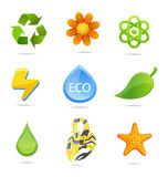 Elegance And Green Nature Symbols Set Stock Images