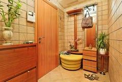 Elegance anteroom interior in warm tones. With hallstand Stock Photo