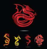 Elegance asia dragon set isolated Stock Image