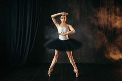Elegance ballerina in action on theatrical stage. Classical ballet dancer in motion Stock Photo