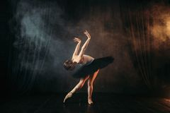 Elegance ballerina in action on theatrical stage. Classical ballet dancer in motion Royalty Free Stock Photo