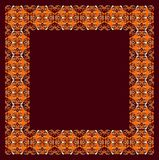 Elegance and baroque. Original and inspiring pattern in symmetry on a dark red background. It seems as an embroidery on the sheets Royalty Free Stock Image