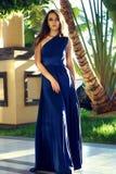 Elegance. Beautiful elegant lady in blue dress Royalty Free Stock Photos