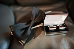 Elegance black bow tie Royalty Free Stock Image