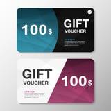 Elegance blue purple gift voucher template layout design set, certificate discount coupon pattern for shopping. Elegance blue purple triangle gift voucher Stock Photos