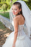 Elegance bride. Beautiful elegance bride with beauty wedding coiffure royalty free stock photos