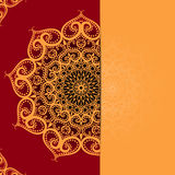 Elegance card with half round lace ornament over blurry background Royalty Free Stock Images