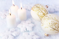 Elegance Christmas Background / Holiday Candles Royalty Free Stock Photography