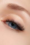 Elegance close-up of beautiful female eye with fashion eyeshadow and eyeliner. Macro shot of woman's beautiful blue eye Stock Photo