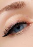 Elegance close-up of beautiful female eye with fashion eyeshadow. And eyeliner. Macro shot of woman`s beautiful blue eye with extremely long eyelashes. Sexy Royalty Free Stock Photo