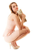 elegance Comprimento completo da menina no vestido cor-de-rosa e com bolsa Imagens de Stock Royalty Free