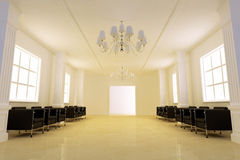 Elegance corridor. 3D interior - Elegance corridor on public building Royalty Free Stock Images