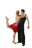 Elegance couple. The young woman and the man dancing the American dance Royalty Free Stock Photo