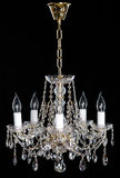 Elegance crystal strass chandelier with eight lamps. Elegance crystal strass chandelier with five lamps. Diamond strass chandelier on black background. Isolated Stock Image