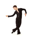 Elegance dancer in black suit Stock Photos