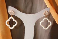 Elegance Earings. Hanged on a white hanger Stock Photos