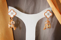Elegance Earings. Hanged on a white hanger Royalty Free Stock Photo