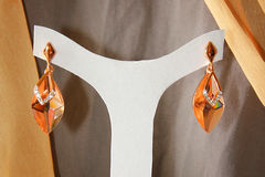 Elegance Earings. Hanged on a white hanger Royalty Free Stock Photography
