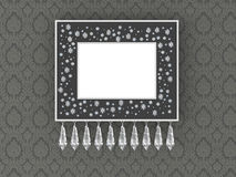 Elegance empty picture frame on vintage wallpaper Royalty Free Stock Images