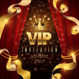 Elegance and exclusive party vector invitation with golden luxury crown. Vip invitation for only member, illustration of luxury vip club Royalty Free Stock Photography