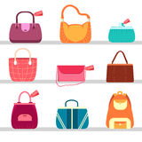 Elegance fashion handbags and bags in flat Stock Photography