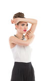 Elegance fashion model. Is posing. Three quarter length studio shot isolated on white Stock Image
