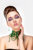 Elegance. Fashion Portrait of Genuine Woman with Classy Coiffure Royalty Free Stock Images