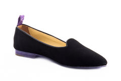 An elegance female shoes isolated. An elegance violet female shoes isolated Stock Images