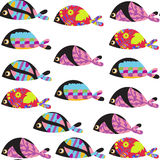 Elegance fish  seamless pattern and seamless pattern in swatch m Royalty Free Stock Images