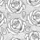 Elegance floral background with roses in dotwork and contour style. Stock Image